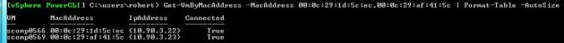 Output of the Get-VMHostByMacAddress PowerCLI function.
