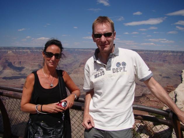 Monique Vanmeulebrouk and Robert van den Nieuwendijk at the Grand Canyon