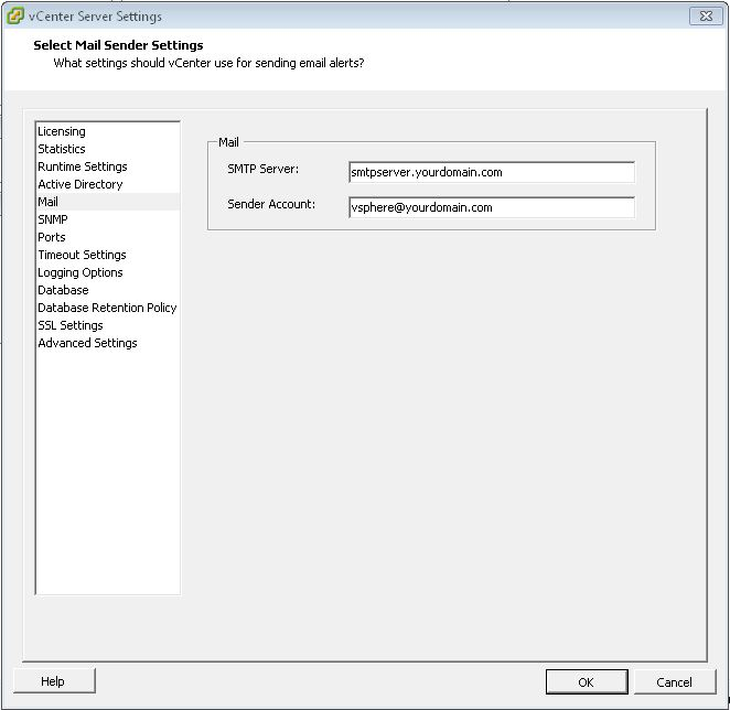 How to use the vCenter Server Settings from PowerCLI to send